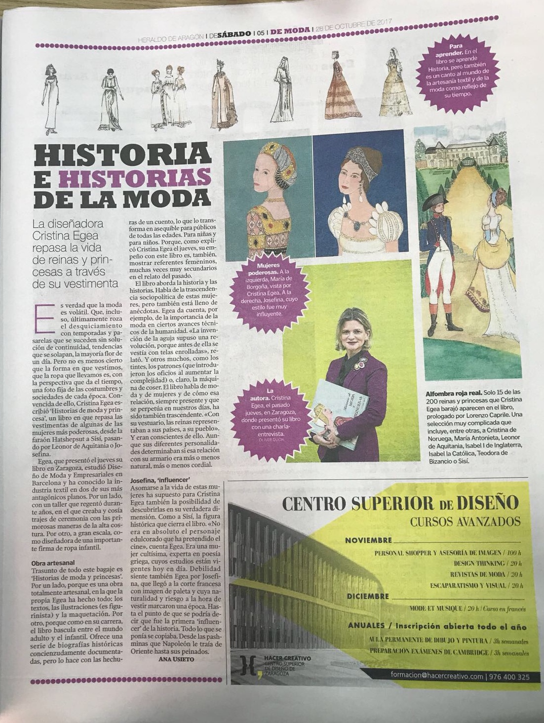 """Entrevista a Cristina Egea autora del libro """" Historias de Moda y Princesas""""por Ana Usieto"""