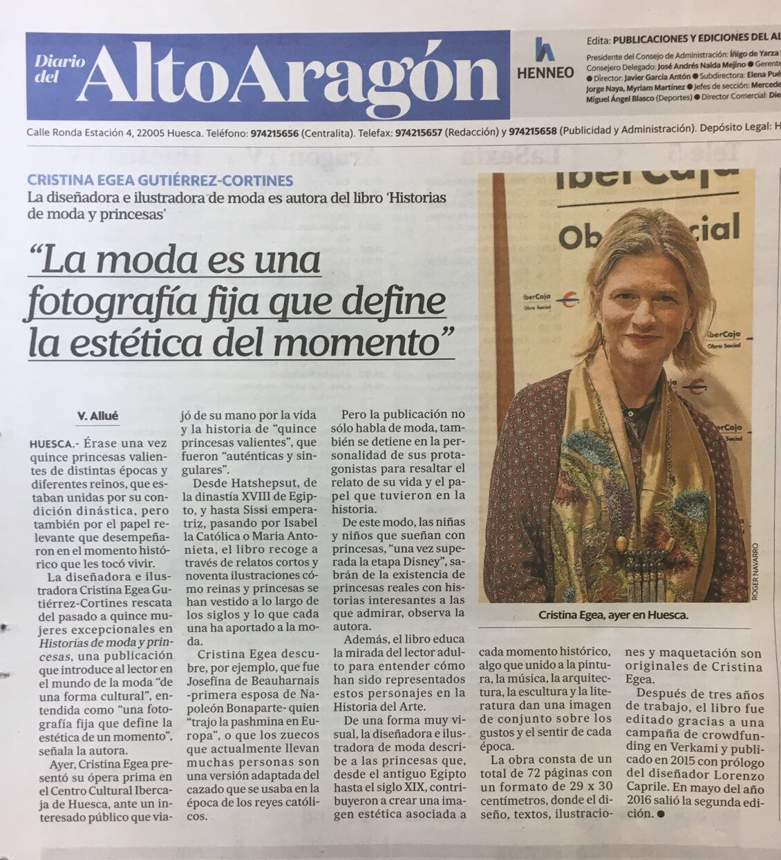 """Entrevista a Cristina Egea autora del libro """" Historias de Moda y Princesas"""", por Verónica Allué"""